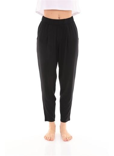 Curly  Pileli Örme Pantolon Siyah